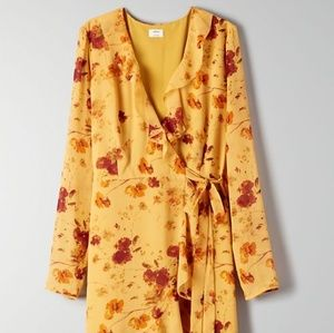 Aritzia Wilfred 'Louise' wrap dress in gold floral